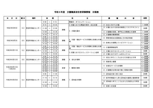 【共通】R3 初任者研修日程のサムネイル